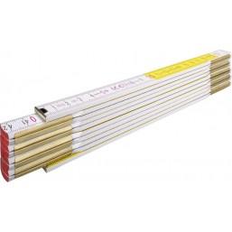 Складной метр Stabila тип 600, деревянный бело-желтого цвета, деление в см и мм на ооих краях метра