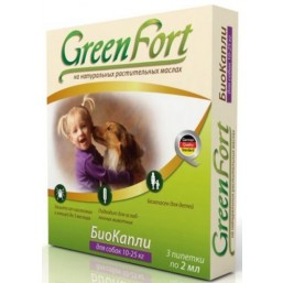 Green Fort БиоКапли от блох  для средних собак 3*1,5мл