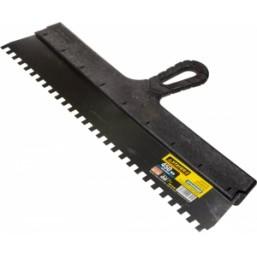 """Шпатель STAYER """"PROFESSIONAL"""" нержавеющий зубчатый с пластмассовой ручкой, 450мм, зуб 8х8мм"""