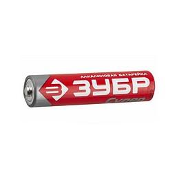 "Батарейка Зубр ""TURBO"" щелочная (алкалиновая), тип AAA, 1,5В, 4шт на карточке"