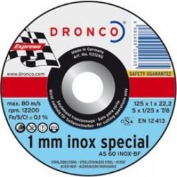 1111240 Отрезной диск по металлу/нерж AS 60 T INOX 115x1x22,23 Dronco