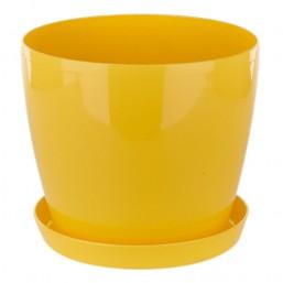 Горшок Магнолия 135мм с поддоном, желтый  Польша