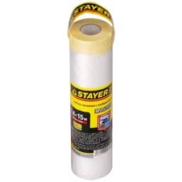 "Пленка STAYER ""PROFI"" защитная с клейкой лентой ""МАСКЕР"", HDPE, 10 мкм, 1,4 х 15 м"