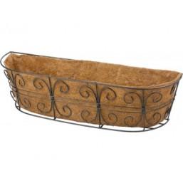 Пристенное кашпо с декором, 74 х 20 см, с корзиной PALISAD 69014