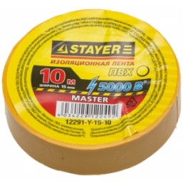 "Изолента STAYER ""MASTER"" желтая, ПВХ, 5000 В, 15мм х 10м"