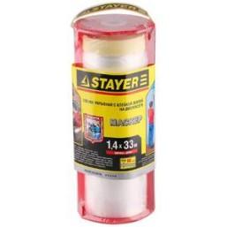 """Пленка STAYER """"PROFI"""" защитная с клейкой лентой """"МАСКЕР"""", HDPE, в диспенсере, 10 мкм, 1,4 х 33 м"""