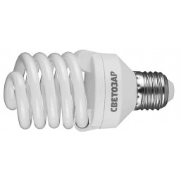 "Энергосберегающая лампа СВЕТОЗАР ""КОМПАКТ"" спираль,цоколь E27(стандарт),Т2,яркий белый свет(4000 К), 25"