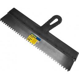 Шпатель DEXX зубчатый нержавеющий, с пластмассовой ручкой, зуб 6х6мм, 450мм