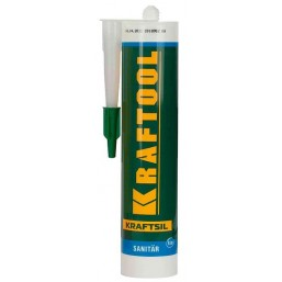 Герметик силиконовый KRAFTOOL белый, санитарный, для помещений с повышенной влажностью, 300мл
