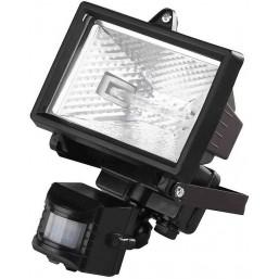 Прожектор галогеновый СВЕТОЗАР с датчиком движения, с дугой крепления под установку, цвет черный, 15