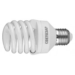 "Энергосберегающая лампа СВЕТОЗАР ""КОМПАКТ"" спираль,цоколь E27(стандарт),Т2,яркий белый свет(4000 К), 20"