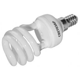 """Энергосберегающая лампа СВЕТОЗАР """"КОМПАКТ"""" спираль,цоколь E14(миньон),Т2,яркий белый свет(4000 К), 1"""