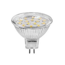 "Лампа СВЕТОЗАР светодиодная ""LED technology"", цоколь GU5.3, теплый белый свет (3000К), 220В, 3Вт (25"