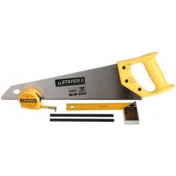"""Набор STAYER """"STANDARD"""" для столярных работ: ножовка по дереву 400 мм, угольник 200 мм, рулетка 3 м,"""