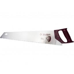 """Ножовка ЗУБР """"ЭКСПЕРТ""""  для тонкого пиления, прямой мелкий закаленный зуб, деревянная ручка, шаг зуб"""