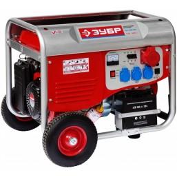 Генератор ЗУБР бензиновый, 4-х тактный, ручной и электрический пуск, колеса + рукоятка, 5500/5000Вт,