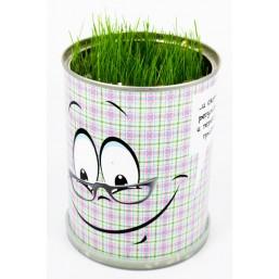 """Сувенир антистресс""""Смайл в очках"""" набор для выращивания BONTILAND (метал. банка, универсальный грунт, семена, высота-9,8см, диаметр-7,8см)"""