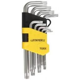 """Набор STAYER Ключи """"MASTER"""" имбусовые короткие, Cr-V, сатинированное покрытие, пластик. держатель, T"""