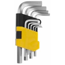 """Набор STAYER Ключи """"MASTER"""" имбусовые короткие, Cr-V, сатинированное покрытие, пластик. держатель, H"""