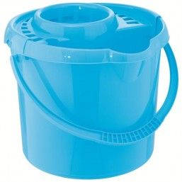 Ведро пластмассовое круглое с отжимом 9л, голубое ТМ Elfe  92961