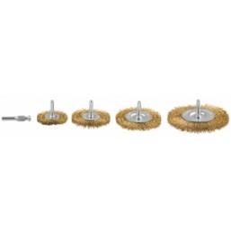 """Набор ЗУБР """"ЭКСПЕРТ"""" Щетки дисковые для дрели, витая латунированная стальная проволока 0,3мм, 4шт"""