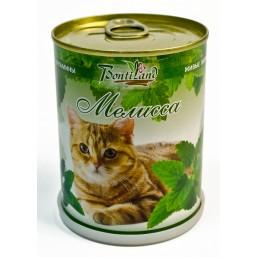 """Мелисса """"Для кошек"""" живые витамины BONTILAND (метал. банка, универсальный грунт, семена, высота-9,8см, диаметр-7,8см)"""
