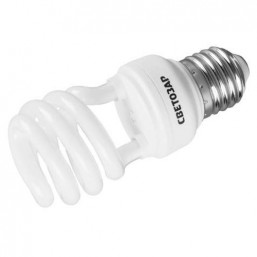 "Энергосберегающая лампа СВЕТОЗАР ""КОМПАКТ"" спираль,цоколь E27(стандарт),Т2,теплый белый свет(2700 К), 12"