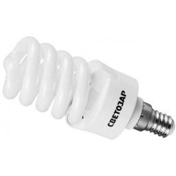 """Энергосберегающая лампа СВЕТОЗАР """"КОМПАКТ"""" спираль,цоколь E14(миньон),Т2,теплый белый свет(2700 К), 12"""