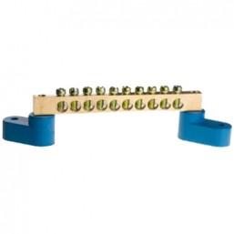 Шина СВЕТОЗАР нулевая на 2-х угловых изоляторах, макс. ток 100А, 5,2мм, 10 полюсов