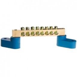 Шина СВЕТОЗАР нулевая на 2-х угловых изоляторах, поворотная,макс. ток 100А, 5,2мм, 8 полюсов