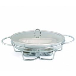 5027 GIPFEL Овальный мармит 2,0 л со стеклянным контейнером (нерж. сталь)