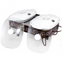 5868-S STAHLBERG Керамический мармит со 2 стекл и 2 керам крышками на чугунной подставке 44.5*24.8*