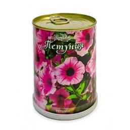 Петуния цветок в банке BONTILAND (метал. банка, универсальный грунт, семена, высота-9,8см, диаметр-7,8см)