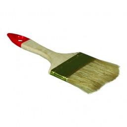 """Кисть плоская ТЕВТОН """"СТАНДАРТ"""", светлая натуральная щетина, деревянная ручка, 100мм"""