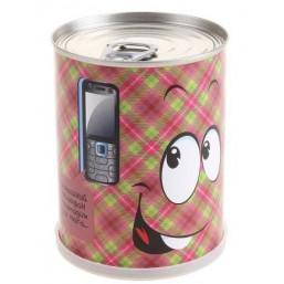 """Сувенир антистресс""""Смайл с телефоном"""" набор для выращивания BONTILAND (метал. банка, универсальный грунт, семена, высота-9,8см, диаметр-7,8см)"""