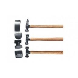 Набор рихтовочный, 3 молотка с деревянными ручками, 4 наковальни SPARTA 108405