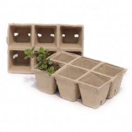 Квадратные ячейки из картона для высадки растений 6 см. (волокно) 9136 Worth