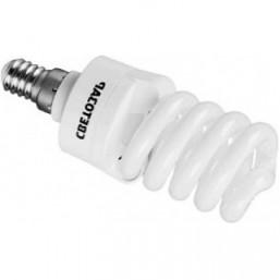 """Энергосберегающая лампа СВЕТОЗАР """"КОМПАКТ"""" спираль,цоколь E14(миньон),Т2,теплый белый свет(2700 К), 09"""