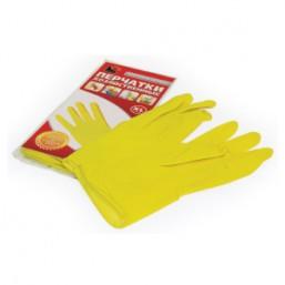 Перчатки хозяйственные латексные универсальные Flexy Gloves M, синие 25 пар в коробке 14261