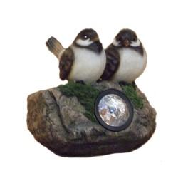 Фонарь Снегири на камне HA07578  GS