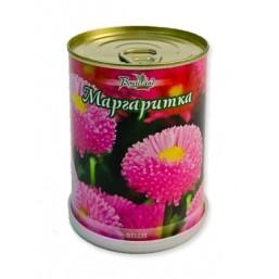 Маргаритка цветок в банке BONTILAND (метал. банка, универсальный грунт, семена, высота-9,8см, диаметр-7,8см)