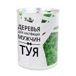 """Туя """"Дерево для настоящих мужчин"""" подарочный набор для выращивания BONTILAND (метал. банка, универсальный грунт, семена, высота-9,8см, диамерт-7,8см)"""