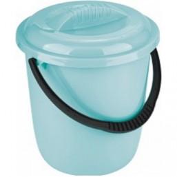Ведро пластмассовое круглое 12л, с крышкой, бирюзовое ТМ Elfe  92959