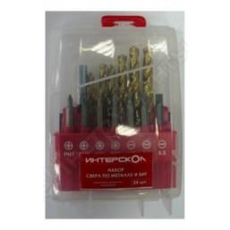 Комбинированный набор: сверла по металлу, биты, магнитный держатель (24 шт) Интерскол 2039900600000