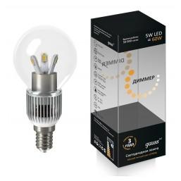 Лампа Gauss LED GlobCry cl 5W E1441DIM(105201205D)