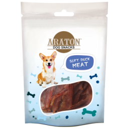 ARATON  Snack for dogs soft duck stripes 75g