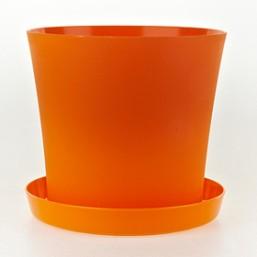Горшок Фиалка 100мм с поддоном, оранжевый  Польша