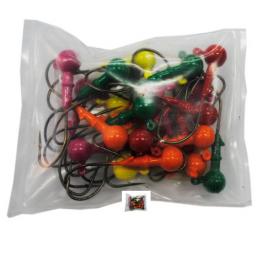 Грузило Джиг-головка шар. сапожок цветной 25шт 14гр