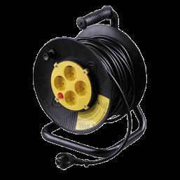 Удлинитель СВЕТОЗАР электрический с заземлением на катушке, евро, 4 гнезда, 25м