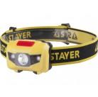 "Фонарь STAYER ""MASTER"" налобный светодиодный, 1Вт(80Лм)+2LED, 4 режима,  3ААА"